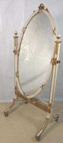 Gilt & Painted Oval Decorated Cheval Dressing Mirror